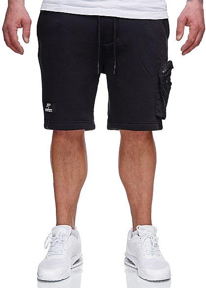 Brave Soul Herren Sweat Shorts 3-Pockets und Zipper Tasche jet schwarz