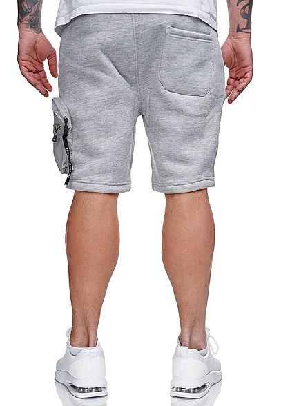 Brave Soul Herren Sweat Shorts 3-Pockets und Zipper Tasche marl hell grau