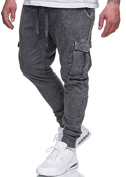 Brave Soul Herren Cargo Sweat Pants Stoffhose 5-Pockets acid wash charcoal dunkel grau