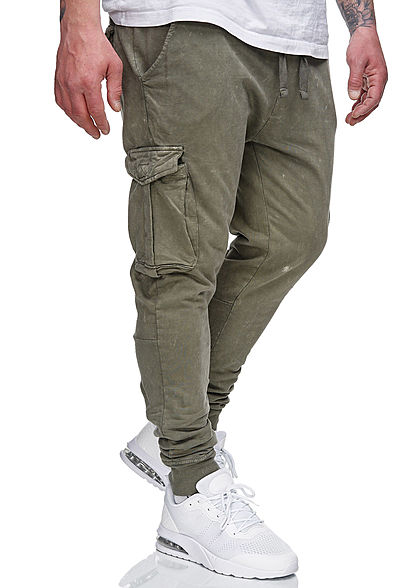 Brave Soul Herren Cargo Sweat Pants Stoffhose 5-Pockets acid wash khaki grün