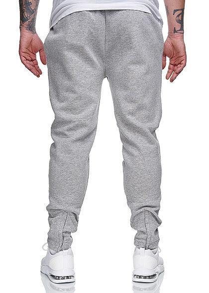 Brave Soul Herren Sweat Pants Skinny Jogger Stoffhose 2-Pockets marl hell grau