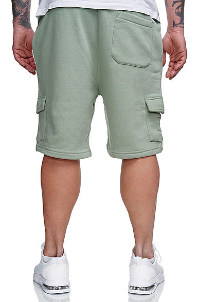 Brave Soul Herren Hooded Set Trainingsanzug Hoodie mit Shorts mint grün charcoal