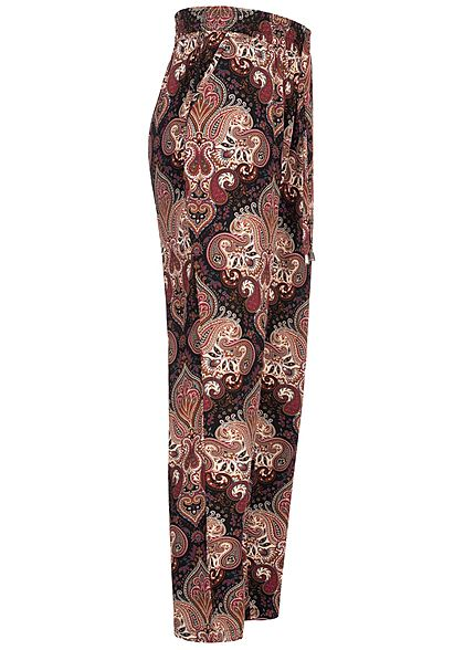 Hailys Damen Viskose Sommer Stoffhose 2-Pockets Paisley Print schwarz multicolor