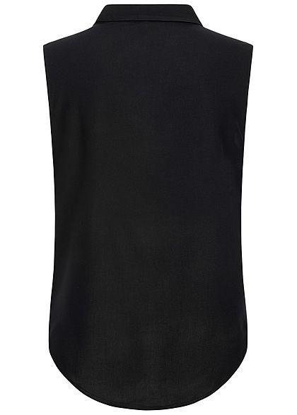 ONLY Damen Blusen Top Bindedetail Vokuhila Knopfleiste schwarz