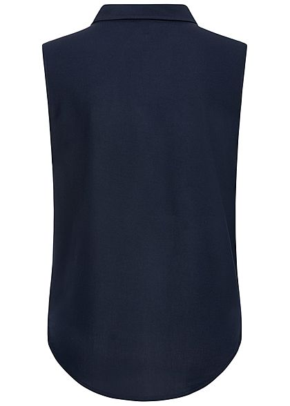 ONLY Damen Blusen Top Bindedetail Vokuhila Knopfleiste night sky navy