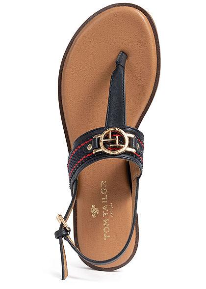 Tom Tailor Damen Schuh Sandale Zehensteg Logo vorne Verschluss hinten navy blau