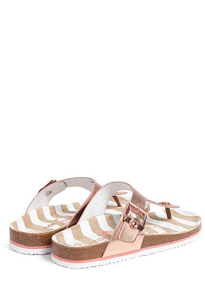 Tom Tailor Damen Schuh Sandale Zehensteg Streifen Muster Schnalle seitl. rose
