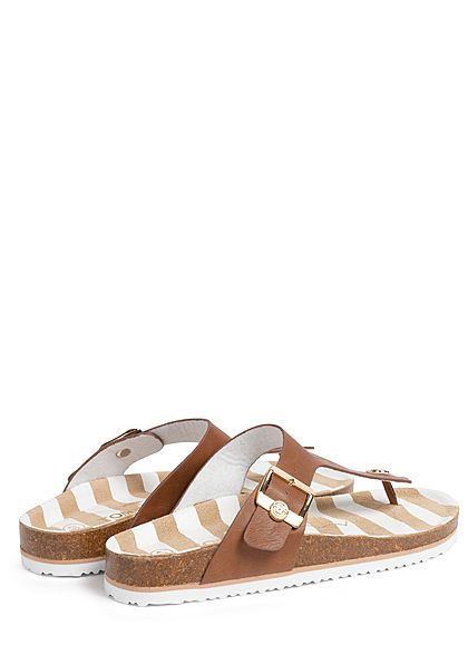 Tom Tailor Damen Schuh Sandale Zehensteg Streifen Muster Schnalle seitl. camel braun