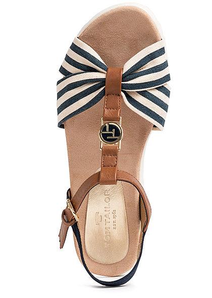 Tom Tailor Damen Schuh Sandale Materialmix Streifen Muster Schnalle seitl. navy blau