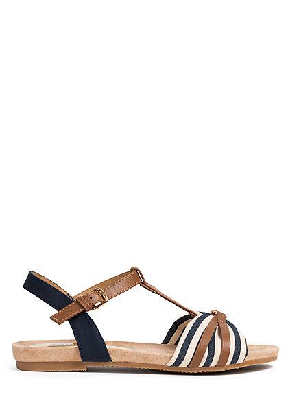 Tom Tailor Damen Schuh Sandale Materialmix Streifen Muster Logo vorne navy blau