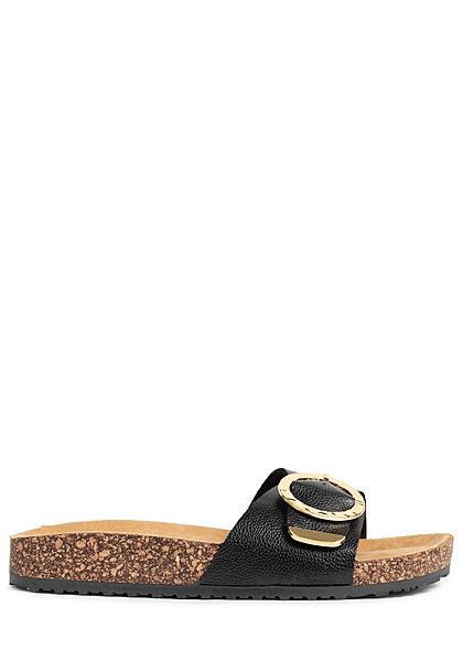 Hailys Damen Schuh Sandale Schnalle schwarz gold