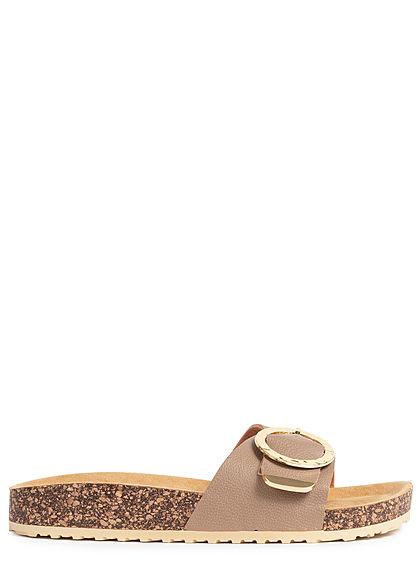 Hailys Damen Schuh Sandale Schnalle taupe beige gold