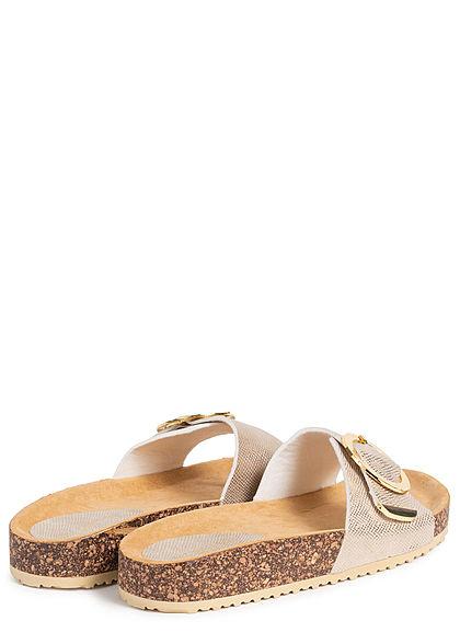 Hailys Damen Schuh Sandale Schnalle gold metallic