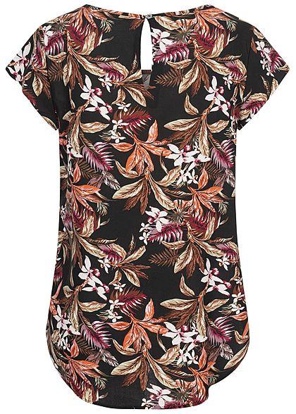 ONLY Damen Viskose Blusen Shirt Tropical Print Vokuhila Knopf schwarz multicolor