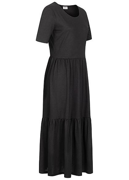 JDY by ONLY Damen NOOS Midi Longform Kleid in Faltenoptik schwarz