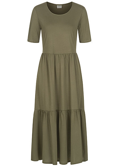 JDY by ONLY Damen NOOS Midi Longform Kleid in Faltenoptik kalamata oliv grün