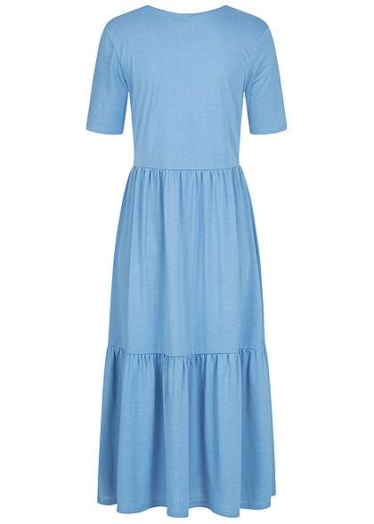 JDY by ONLY Damen NOOS Midi Longform Kleid in Faltenoptik lichen blau