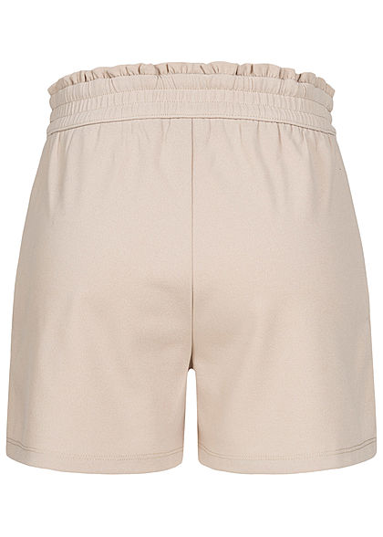 JDY by ONLY Damen NOOS Jersey Shorts mit Frilldetails 2-Pockets chateau gray beige