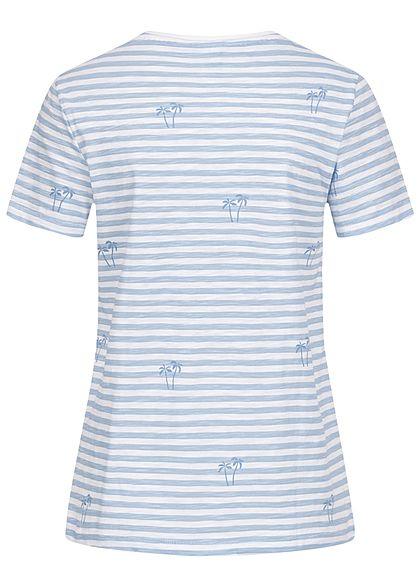 ONLY Damen Basic T-Shirt Streifen & Palmen Muster bright weiss blau