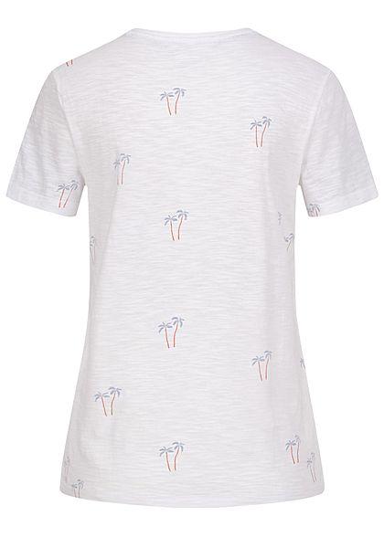 ONLY Damen Basic T-Shirt Palmen Muster bright weiss