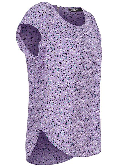 ONLY Damen NOOS Blusen Top Blumen Print Vokuhila Zipper chinese violet lila