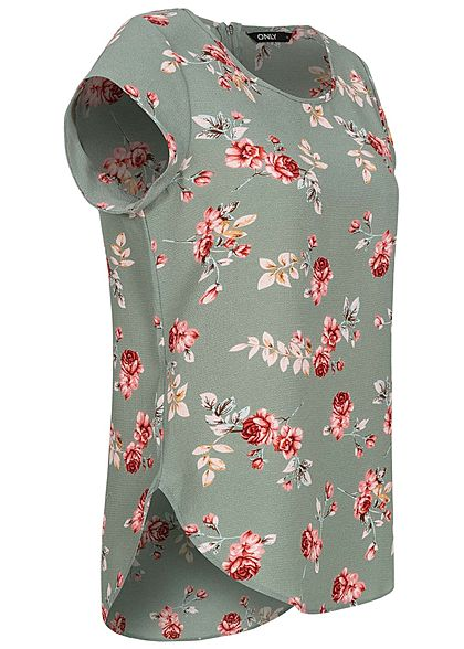 ONLY Damen NOOS Blusen Top Blumen Print Vokuhila Zipper chinois grün rot