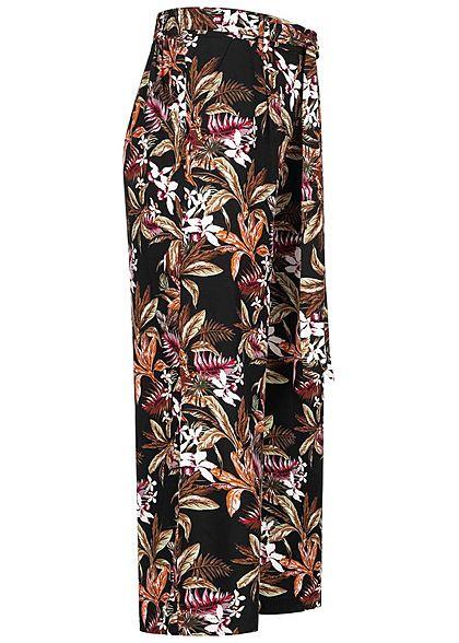 ONLY Damen 3/4 Culotte Sommer Hose Tropical Print 2-Pockets Bindedetail vorne schwarz mc