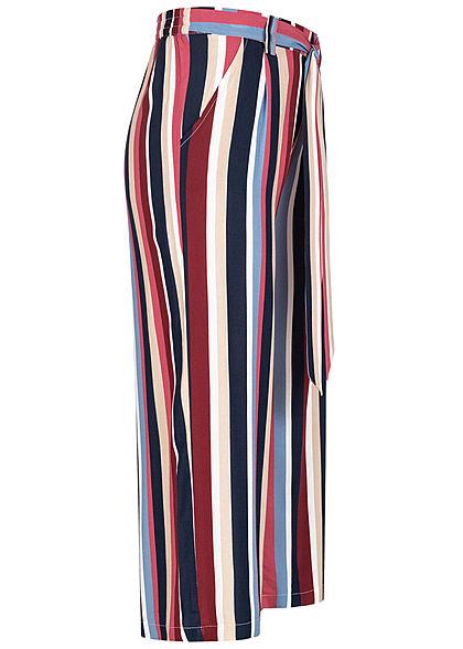 ONLY Damen 3/4 Culotte Sommer Hose Multi Streifen 2-Pockets Bindedetail vorne cloud multic