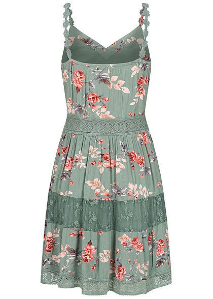 ONLY Damen NOOS V-Neck Mini Kleid Rosen Print 2-lagig chinois grün