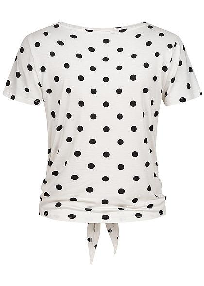 ONLY Damen NOOS T-Shirt Bindedetail vorne Punkte Muster cloud d. weiss schwarz