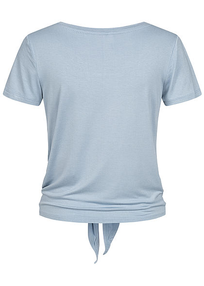 ONLY Damen NOOS T-Shirt Bindedetail vorne Unicolor nebel blau