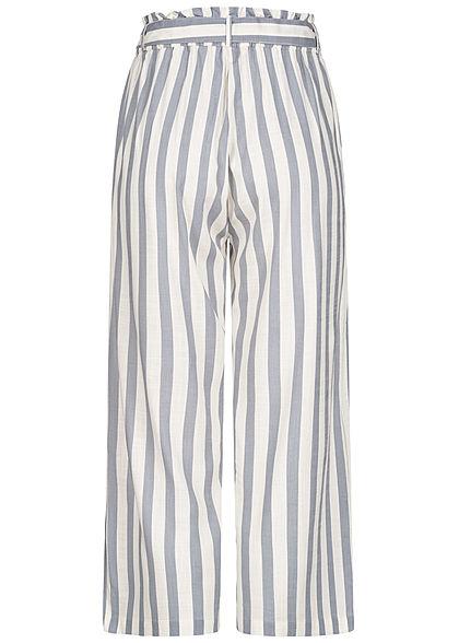 ONLY Damen NOOS Paperbag Culotte Stoffhose Streifen inkl. Bindegürtel weiss silber