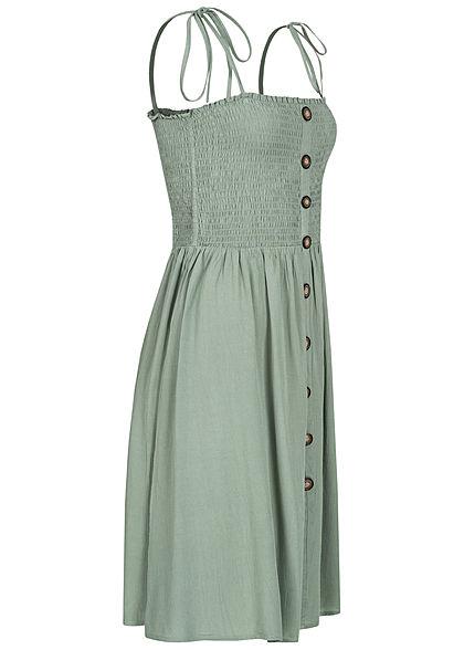 ONLY Damen NOOS Bandeau Träger Kleid Deko Knopfleiste Raffdetail chinois grün