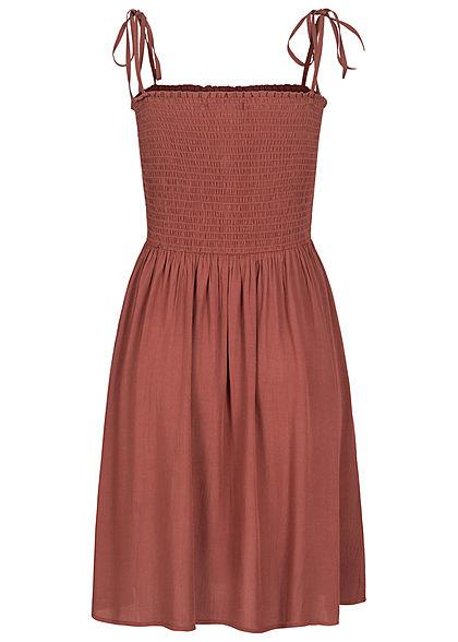 ONLY Damen NOOS Bandeau Träger Kleid Deko Knopfleiste Raffdetail apple butter rot