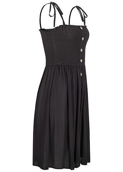 ONLY Damen NOOS Bandeau Träger Kleid Deko Knopfleiste Raffdetail schwarz