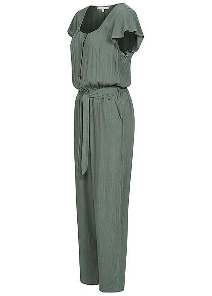 Tom Tailor Damen Krepp Jumpsuit Volantärmel inkl. Bindegürtel dusty pine grün