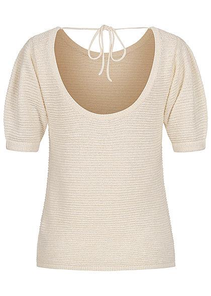 Tom Tailor Damen 1/2-Arm Shirt Rückenausschnitt Struktur Stoff soft creme beige