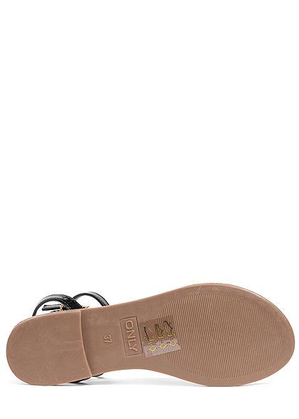 ONLY Damen Schuh Sandale Kunstleder Lackoptik Schnalle mit Kette schwarz