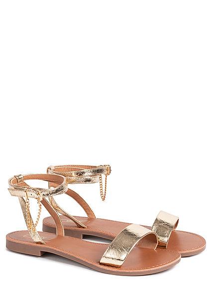 ONLY Damen Schuh Sandale Kunstleder Lackoptik Schnalle mit Kette gold