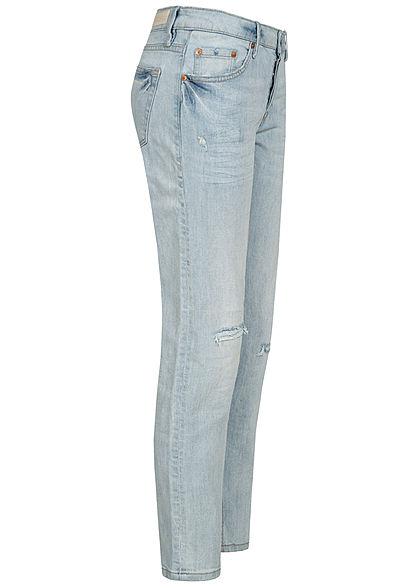 Tom Tailor Damen Boyfriend Jeans Hose Destroy Look 5-Pockets stone hell blau den