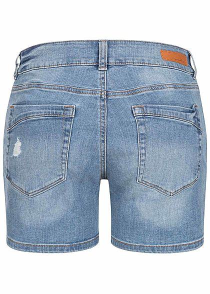 Tom Tailor Damen Jeans Shorts Low-Waist Destroy Look 5-Pockets stone hell blau den