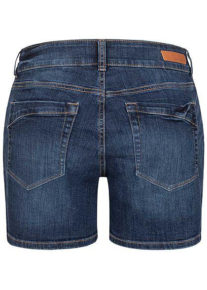 Tom Tailor Damen Jeans Shorts Low-Waist Destroy Look 5-Pockets stone mid blau den