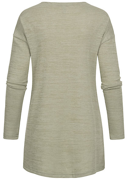 Hailys Damen Basic Cardigan 2-Pockets offener Schnitt soft grün