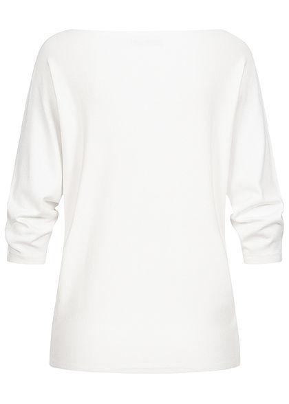 Hailys Damen 3/4 Fledermausarm Longform Pullover off weiss