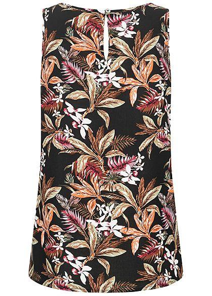 ONLY Damen Viskose Blusen Top Knopf hinten Tropical Print schwarz multicolor