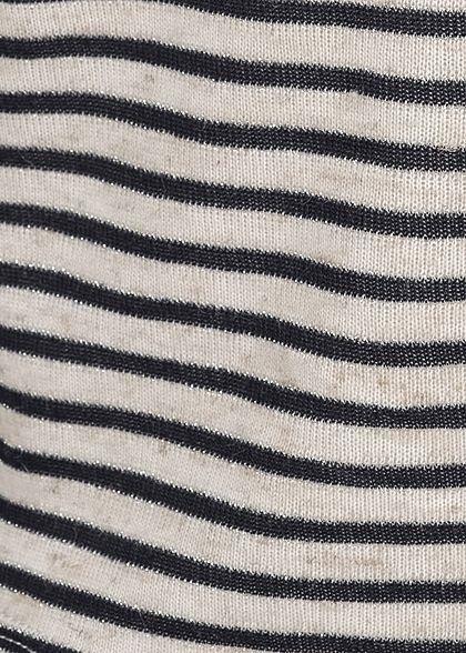 Hailys Damen Lurex Top Knopfleiste Bindedetail vorne Streifen Muster navy blau