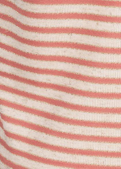 Hailys Damen Lurex Top Knopfleiste Bindedetail vorne Streifen Muster coral orange