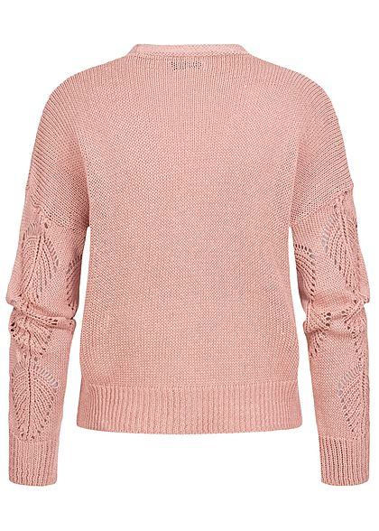 Hailys Damen Strick Cardigan Knopfleiste Blatt Lochmuster blush rosa