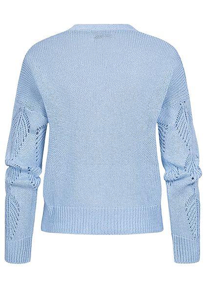 Hailys Damen Strick Cardigan Knopfleiste Blatt Lochmuster hell blau