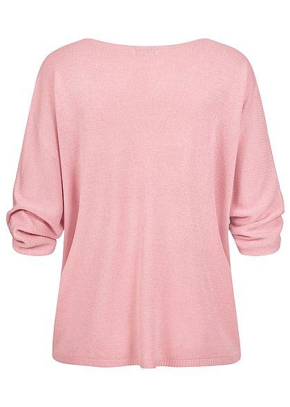 Hailys Damen 3/4 V-Neck Strickpullover blush rosa